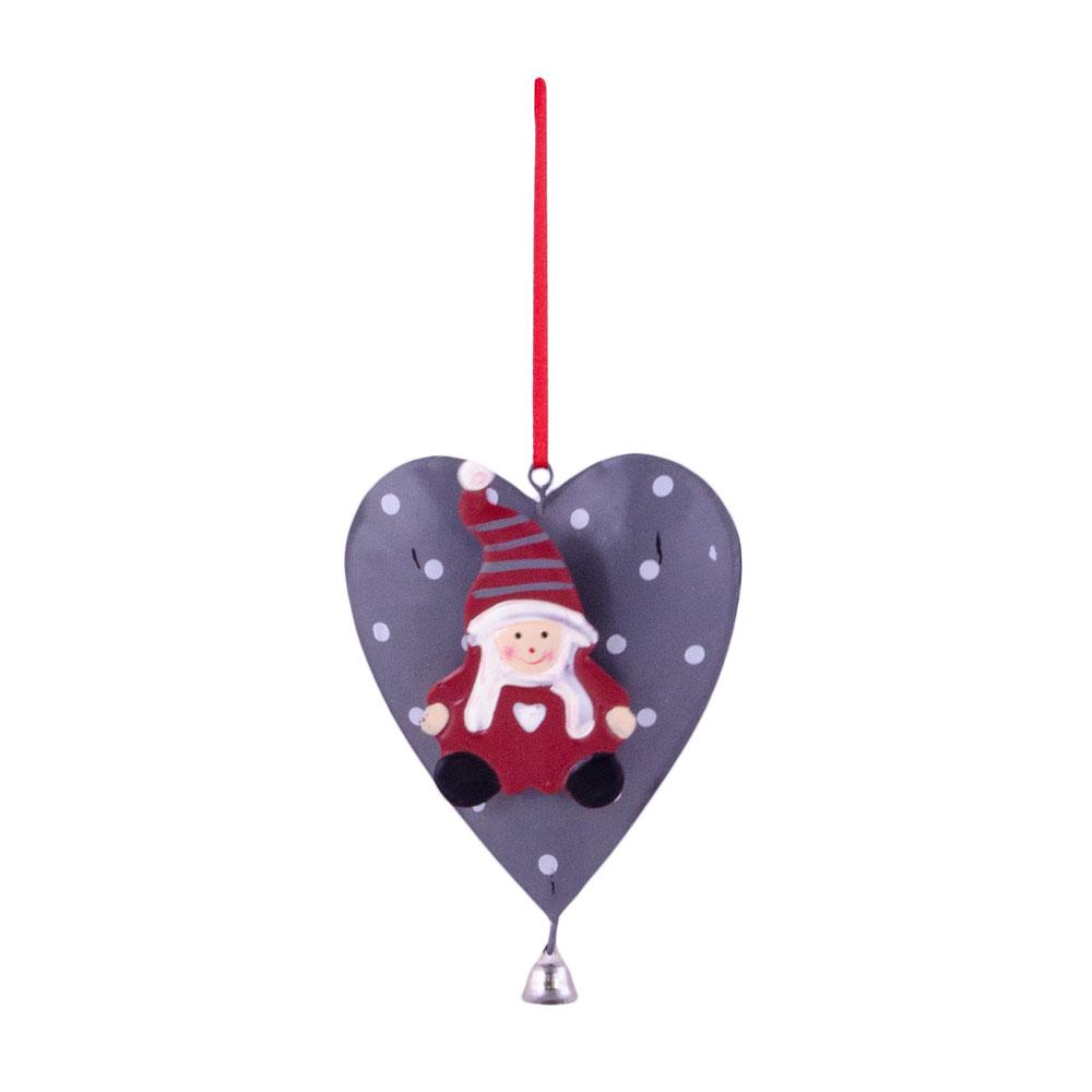 Decoratiune Craciun, in forma de inima, gri, cu buline si mos craciun