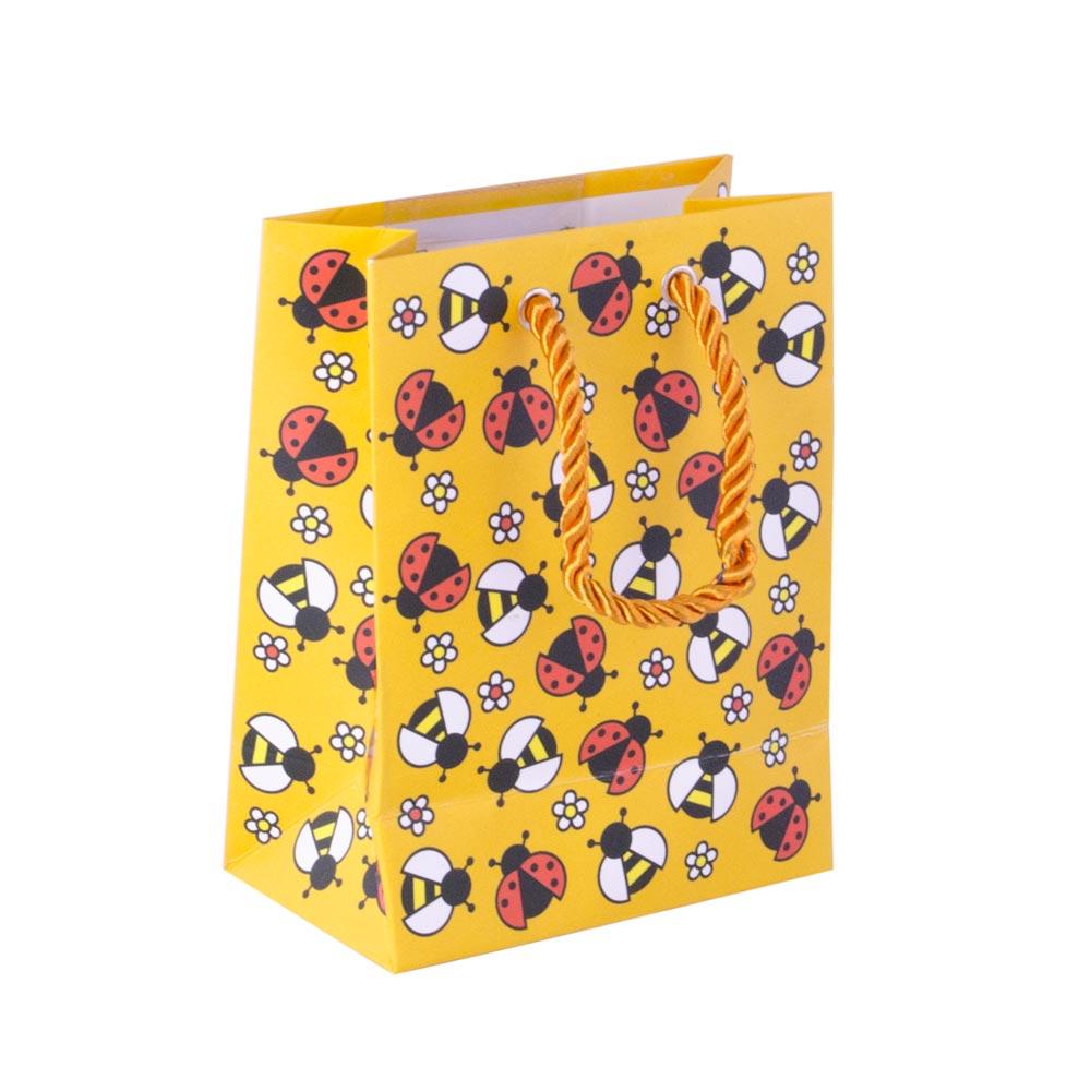 Punga de cadouri, din carton, galbena, cu model mamarute