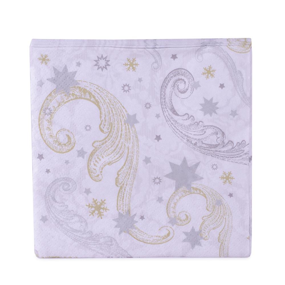 Servetele de Craciun albe, cu imprimeu argintiu-auriu