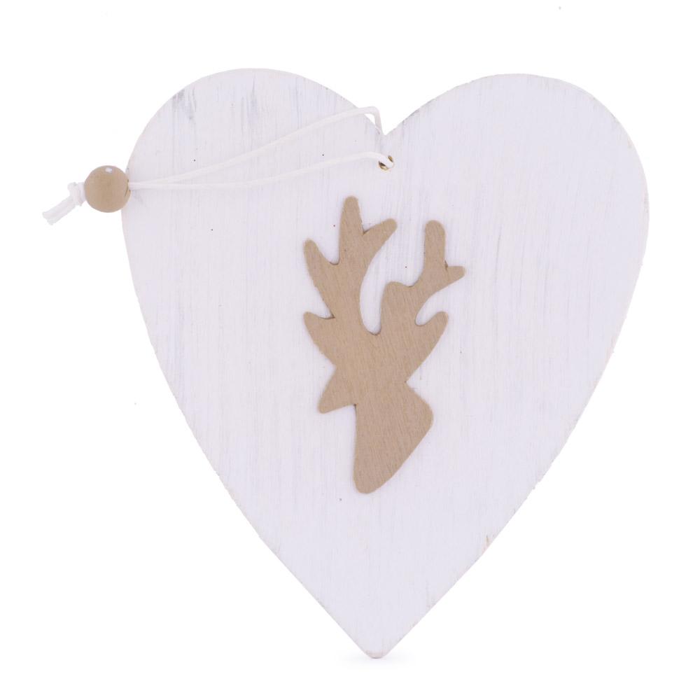 Decoratiune pentru brad, inimioara alba cu cerb auriu