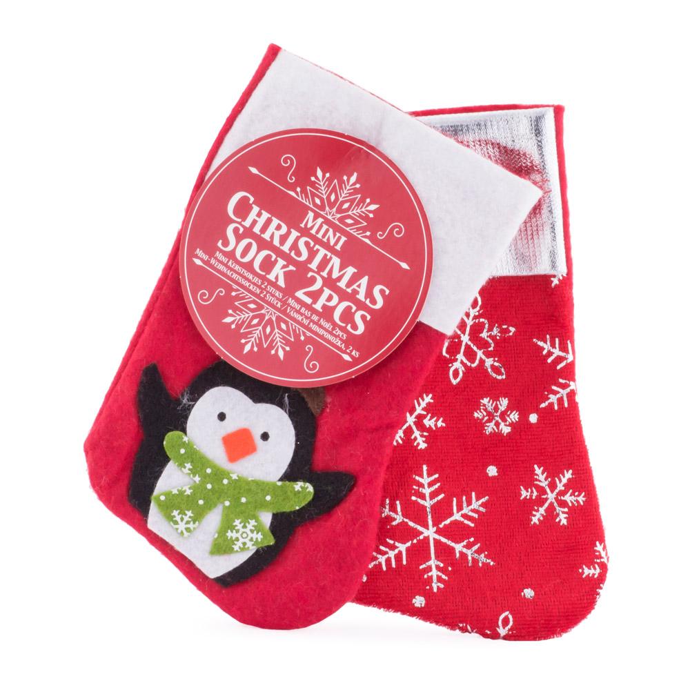 Soseta pentru cadouri, 2 bucati, pinguin, 15 cm