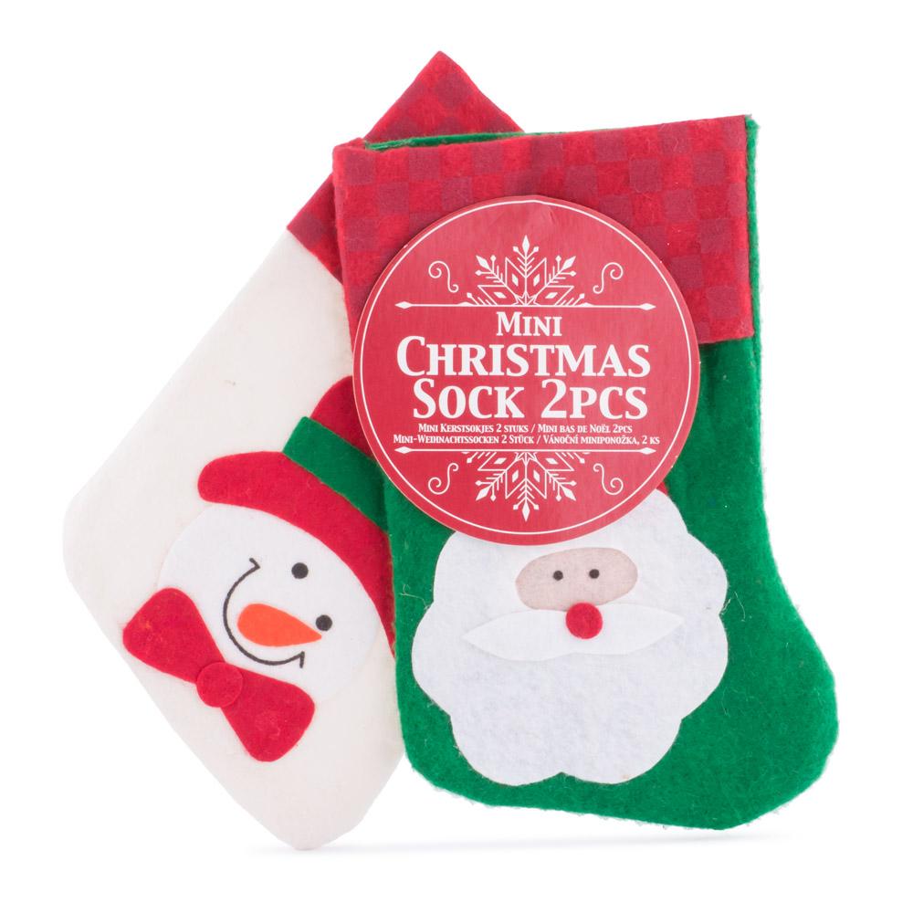 Soseta pentru cadouri, 2 bucati, Mos Craciun - Om de zapada, 15 cm