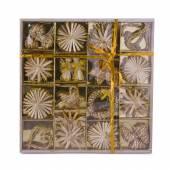 Set decoratiuni pentru brad, crem cu sclipici auriu
