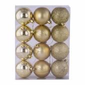 Set 12 globuri, din plastic, auriu