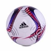 Minge de fotbal Adidas, alba cu model rosu-mov