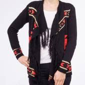 Cardigan negru cu imprimeu rosu-auriu