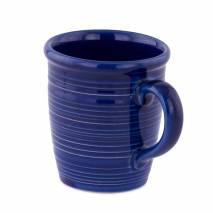 Cana din ceramica, albastru cu dungi albe