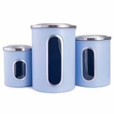 Set 3 cutii de depozitare albastru, cu capac din otel inoxidabil, Rost Frei