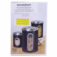 Set 3 cutii de depozitare negru, cu capac din otel  inoxidabil, Rost Frei
