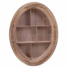 Raft decorativ, de perete, oval, din lemn, maro