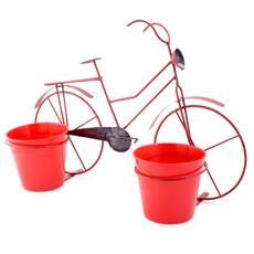 Bicicleta decorativa cu 2 ghivece, rosie
