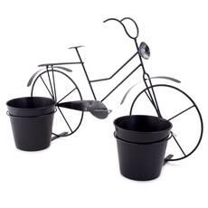 Bicicleta decorativa cu 2 ghivece, neagra