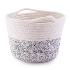 Cos de depozitare din material textil, gri-crem