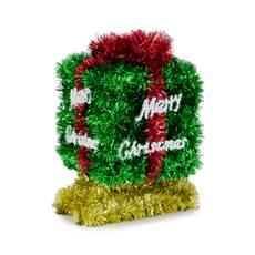 Ornament de Craciun, in forma de cutie cadou, verde