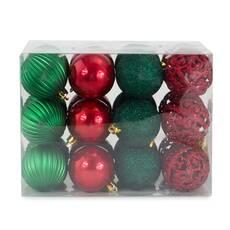 Set 24 globuri, rosii-verzi