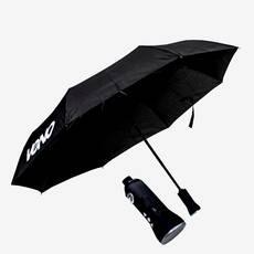 Umbrela neagra, cu difuzor bluetooth incorporat in maner.