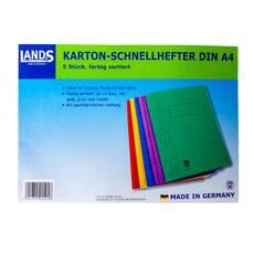 Set 5 dosare Lands,  cu sina metalica, din carton, multicolor