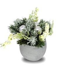 Decoratiune de Craciun, ghiveci cu crengute de brad si globuri argintii