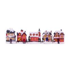 Set 5 casute decorative, cu led, din ceramica, multicolor