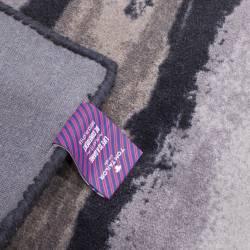 Covor dreptunghiular, Tom Tailor, negru, cu imprimeu crem-gri, 65x135 cm