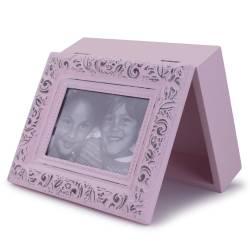 Cutie decorativa, din lemn, cu poza, roz
