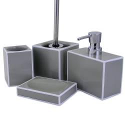 Perie pentru WC, cu suport din ceramica C'elina, gri cu dunga alba