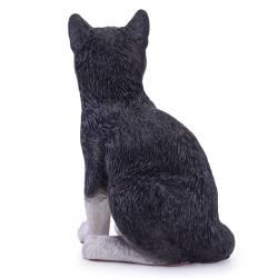 Pisica decorativa din ceramica,negru cu alb