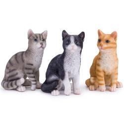 Pisica decorativa din ceramica, gri-negru