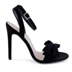 Sandale cu toc, din catifea, negre