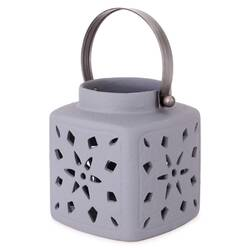 Felinar decorativ ceramic, gri