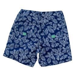 Pantaloni scurti albastri, cu imprimeu floral alb