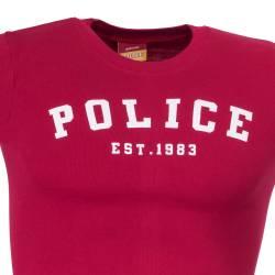 Tricou POLICE, rosu cu dungi