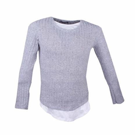 Bluza unisex, gri-alb