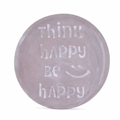 "Farfurioara decorativa, cu mesaj ""Think happy be happy"""