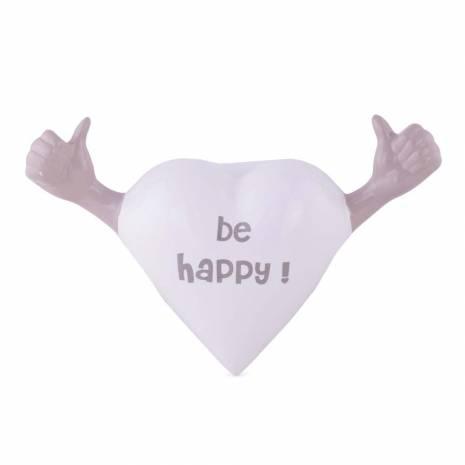 """Inimioara decorativa cu mesaj """"Be Happy!"""", din ceramica, alb-gri"""