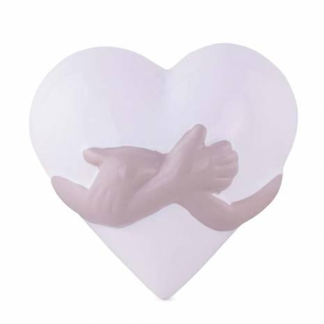 Inimioara decorativa, din ceramica, alb-gri