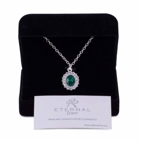 Colier, Eternal Love, piatra verde inchis, cu elemente swarovski