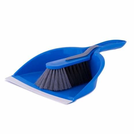 Set faras cu perie, din plastic, albastru-negru
