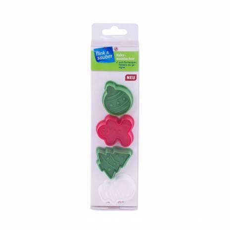  Set 4 forme pentru fondant sau fursecuri, Christmas, alb-verde-rosu