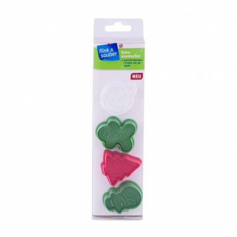 Set 4 forme pentru fondant sau fursecuri, Christmas, verde-rosu-alb