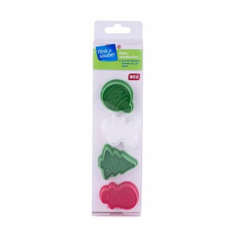 Set 4 forme pentru fondant sau fursecuri, Xmas, rosu-verde-alb