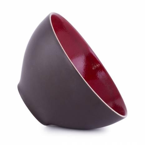 Bol, din ceramica, negru-rosu
