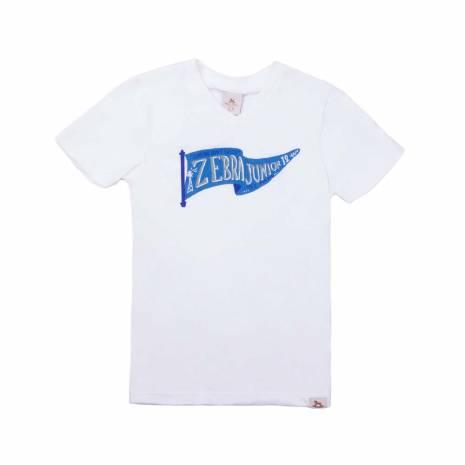Tricou alb, cu imprimeu albastru-verde