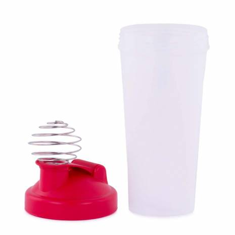 Milk shaker, din plastic, transparent-rosu
