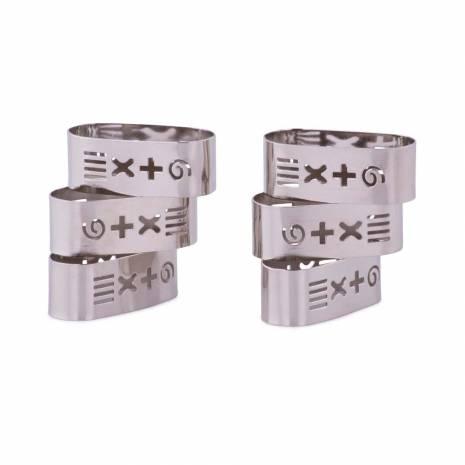 Set 6 inele pentru servetele de masa, Alkor, din metal, argintiu