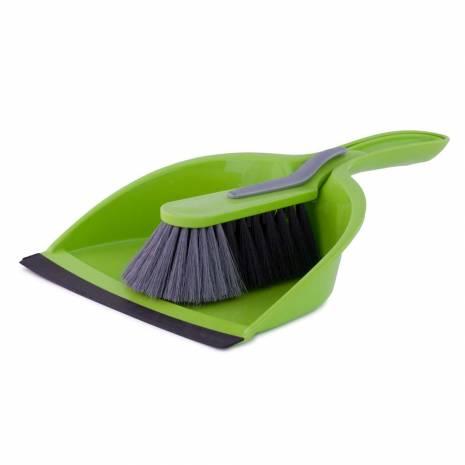 Set faras cu perie, din plastic, verde-negru