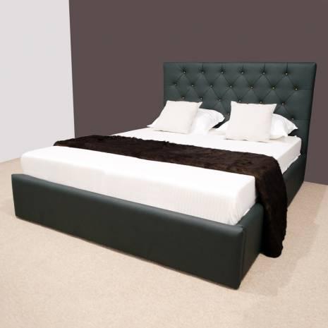Pat dormitor Royal, tapitat, verde