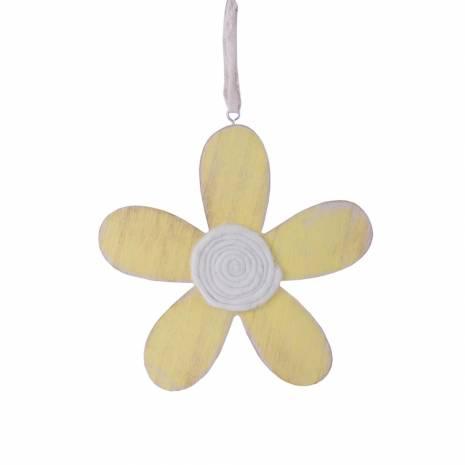 Floare decorativa Mabiente, din lemn, galben cu alb