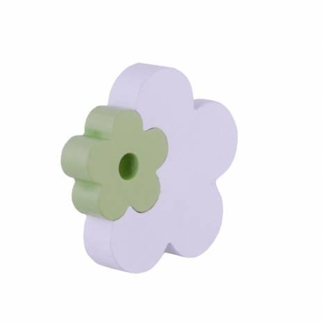 Floare decorativa, din lemn, alb-verde