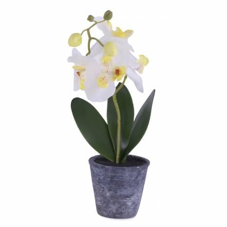 Ghiveci orhidee artificiala, alba